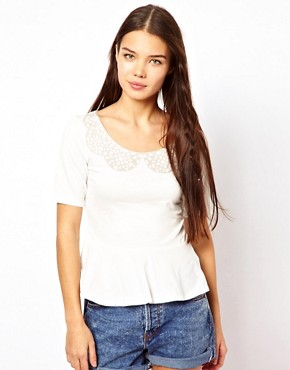 Image 1 of People Tree Organic Cotton Lace Print Peplum Top