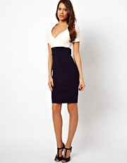 Vesper Wrap Dress in Two Tone