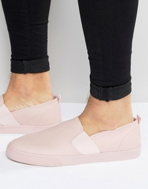 ASOS Slip On Plimsolls in Pink With Elastic