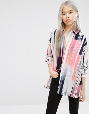 ASOS Oversized Shirt In Abstract Stripe