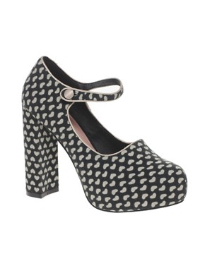 Image 1 ofASOS PICKLE Heart Print Platform Mary Jane Shoe