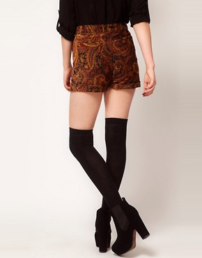Image 2 ofMinkpink &#39;Hendrix&#39; Paisley Velvet Waisted Shorts