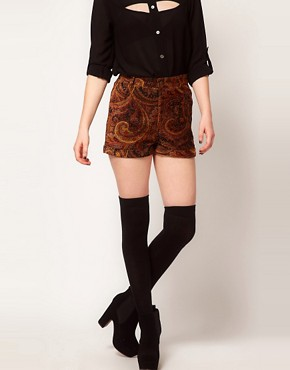 Image 4 ofMinkpink &#39;Hendrix&#39; Paisley Velvet Waisted Shorts