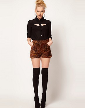 Image 1 ofMinkpink &#39;Hendrix&#39; Paisley Velvet Waisted Shorts