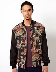 Reclaimed Vintage Varsity Jacket with Dog Tapestry Panels