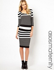ASOS Maternity Exclusive Midi Dress In Multi Stripe