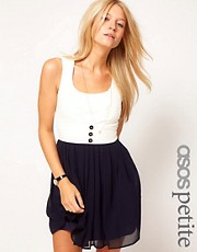 ASOS PETITE Exclusive Dress With Chiffon Skirt And Buttons