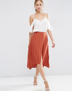 ASOS Midi Skirt in Self Stripe with Stepped Hem Detail