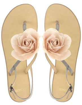 Image 3 of ASOS FLOWER Corsage Toe Post Sandals