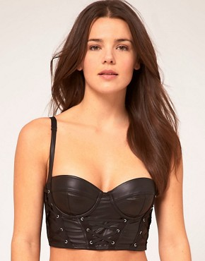 Image 1 ofASOS Wetlook Eyelet Detail Longline Bra