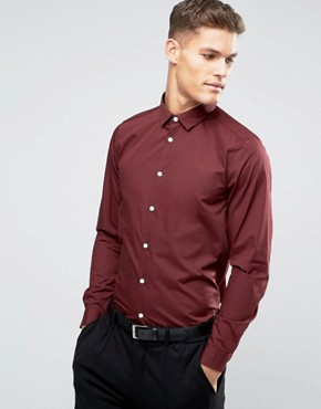 ASOS Smart Shirt In Burgundy With Long Sleeves