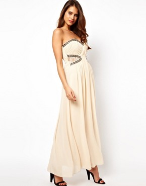 Image 1 ofLittle Mistress Lace Insert Embellished Maxi Dress