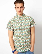 Solid Short Sleeve Shirt With Allover Print