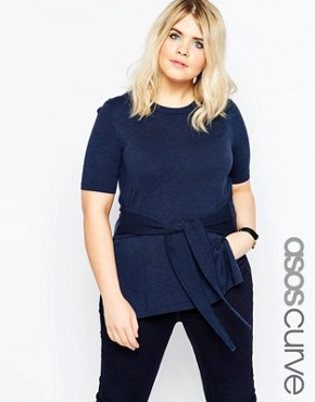 ASOS CURVE Knitted Jumper With Tie Waist