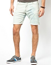 ASOS Denim Shorts With Bleach Wash