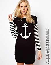 ASOS Maternity Knitted Dress With Anchor
