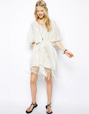 ASOS Kimono Dress In Lace