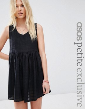ASOS PETITE Smock Dress in Lightweight Check
