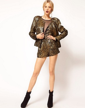Image 4 ofASOS Gold Jacquard Jacket