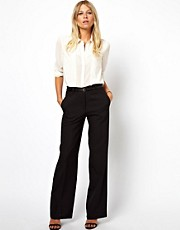 ASOS Wide Leg Pants With Notch Back Detail
