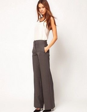 Image 1 ofASOS Wide Leg Trousers With Notch Back Detail