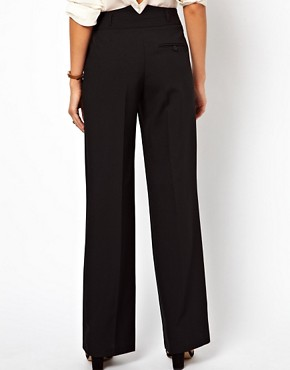 Image 2 ofASOS Wide Leg Trousers With Notch Back Detail