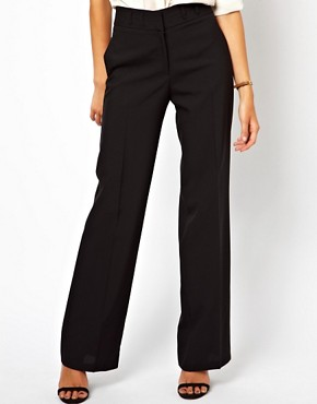 Image 4 ofASOS Wide Leg Trousers With Notch Back Detail