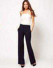 ASOS Wide Leg Trousers With Notch Back Detail