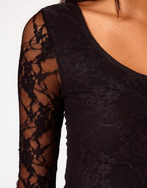 Image 3 ofASOS PETITE Exclusive Lace Dress With Cut Out Back Detail