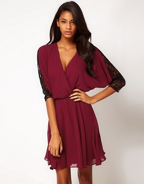 Image 1 ofASOS Skater Dress in Contrast Lace