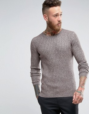 ASOS Muscle Fit Ribbed Jumper in Merino Wool Mix
