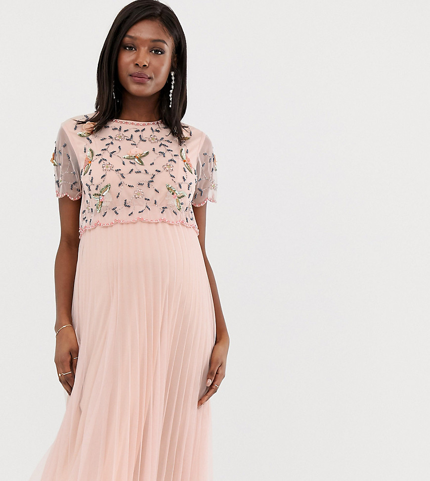 ASOS DESIGN Maternity embellished crop top midi skater dress