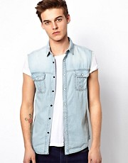 Solid Sleeveless Denim Shirt