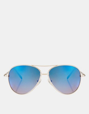 Image 2 ofASOS Aviator Sunglasses With Blue Revo Lens