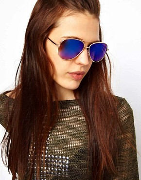 Image 3 ofASOS Aviator Sunglasses With Blue Revo Lens