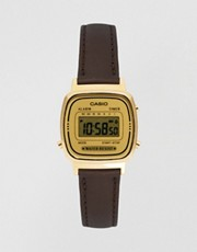 Casio Brown Leather Strap Digital Watch