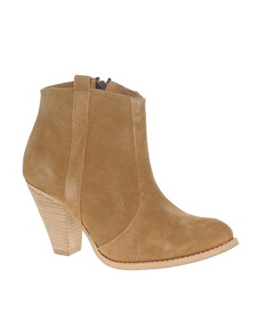 Image 1 ofASOS AGGIE Suede Pull On Casual Heel Ankle Boots