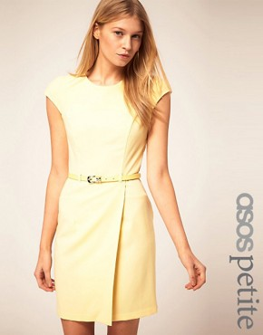 Image 1 ofASOS PETITE Exclusive Wrap Dress With Belt