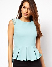 Lipsy Peplum Top With Embellished Shoulder