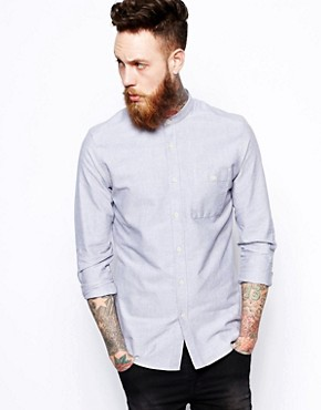 ASOS Oxford Shirt In Grey With Long Sleeves And Grandad Collar