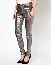 J Brand 801I530 Mid Rise Jeans in Coated Metallic