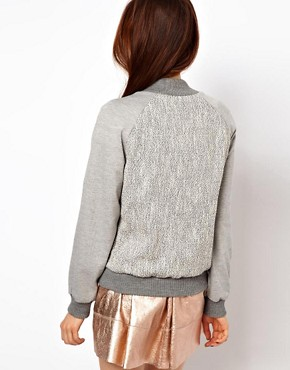 Image 2 ofASOS Tweed Blocked Bomber Jacket