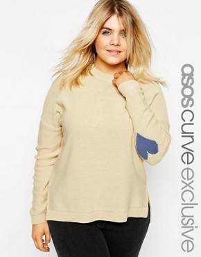 ASOS CURVE Boxy Jumper With Heart Elbow Patch