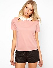 ASOS Top with Collar and Cut Out Detail