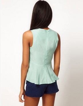 Image 2 ofASOS Sleeveless Top With Peplum