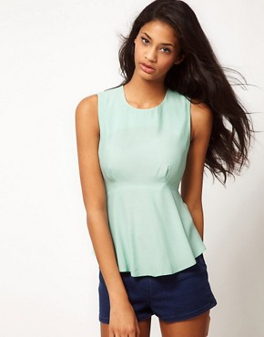 Image 1 ofASOS Sleeveless Top With Peplum
