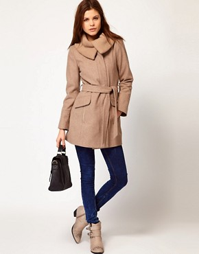 Image 4 ofWarehouse Rib Collar Coat