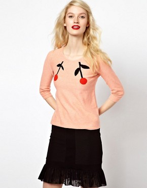 Image 1 ofSonia by Sonia Rykiel Cherry Intarsia Knitted Jumper