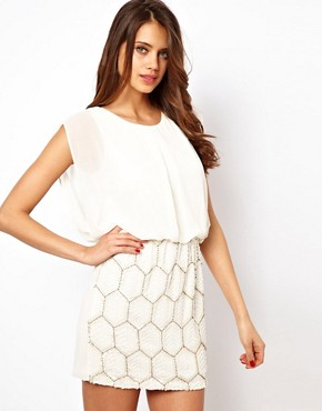 Image 1 ofTFNC Dress with Jewelled Skirt and Chiffon Top