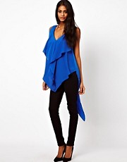 ASOS Top With Drape And Asymmetric Ruffles